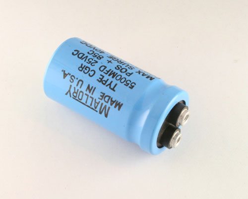 Picture of CGR552U025R2L3PH MALLORY capacitor 5,500uF 25V Aluminum Electrolytic Large Can Computer Grade