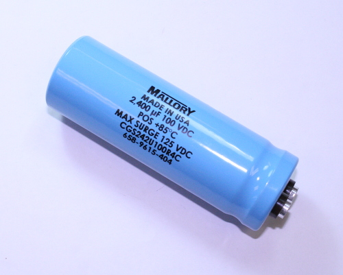 Picture of CGS242U100R4C MALLORY capacitor 2,400uF 100V Aluminum Electrolytic Large Can Computer Grade