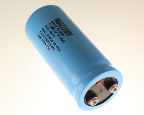 Picture of CGS773U016V4L MALLORY capacitor 77,000uF 16V Aluminum Electrolytic Large Can Computer Grade