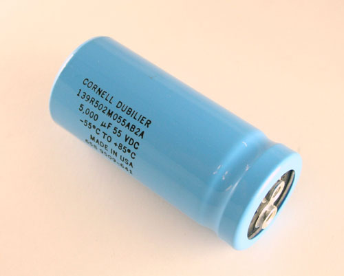 Picture of 139R502M055AB2A Cornell Dubilier (CDE) capacitor 5,000uF 55V Aluminum Electrolytic Large Can Computer Grade