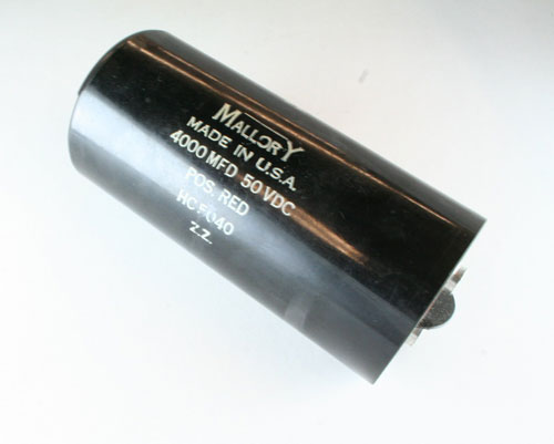 Picture of HC5040 MALLORY capacitor 4,000uF 50V Aluminum Electrolytic Large Can Computer Grade