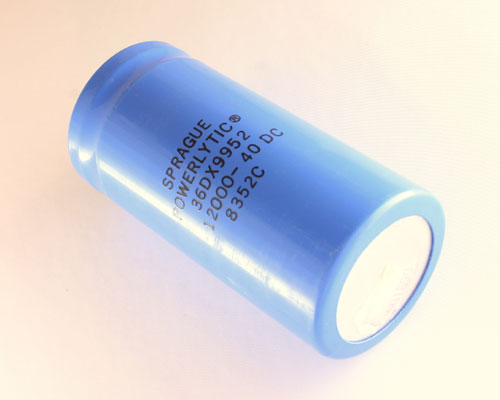 Picture of 36DX9952 SPRAGUE capacitor 12,000uF 40V Aluminum Electrolytic Large Can Computer Grade