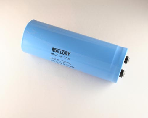 Picture of CGS433U025V5L MALLORY capacitor 43,000uF 25V Aluminum Electrolytic Large Can Computer Grade
