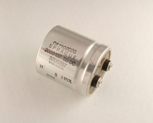 Picture of CE71C202G SPRAGUE capacitor 2,000uF 50V Aluminum Electrolytic Large Can Computer Grade