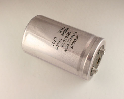Picture of 602D1079 SPRAGUE capacitor 5,600uF 75V Aluminum Electrolytic Large Can Computer Grade