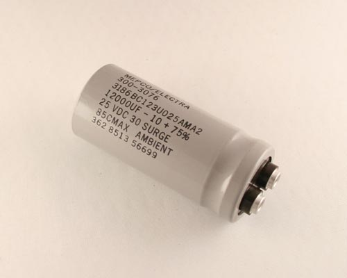Picture of 3186BC123U025AMA2 MEPCO capacitor 12,000uF 25V Aluminum Electrolytic Large Can Computer Grade