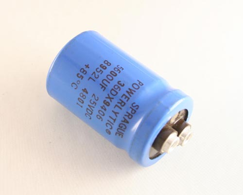 Picture of 36DX9406 SPRAGUE capacitor 5,600uF 25V Aluminum Electrolytic Large Can Computer Grade