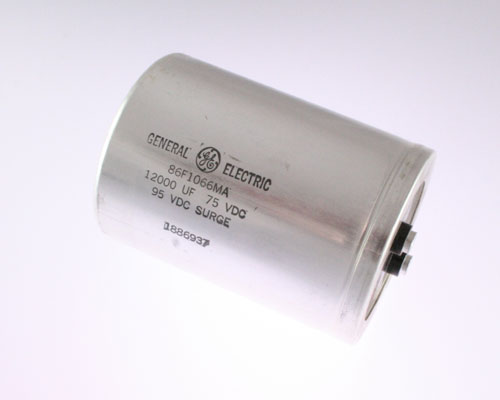 Picture of 86F1066MA GE capacitor 12,000uF 75V Aluminum Electrolytic Large Can Computer Grade
