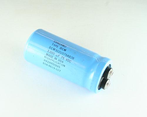 Picture of DCM302U075AB2B SANGAMO capacitor 3,000uF 75V Aluminum Electrolytic Large Can Computer Grade