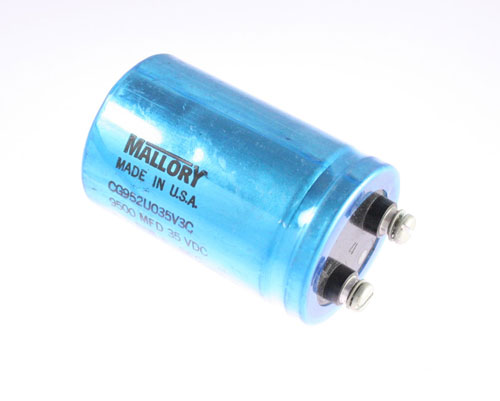 Picture of CG952U035V3C MALLORY capacitor 9,500uF 35V Aluminum Electrolytic Large Can Computer Grade