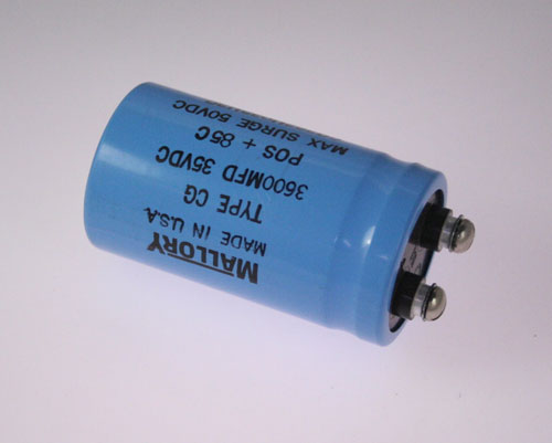 Picture of CG362U035U3C MALLORY capacitor 3,600uF 35V Aluminum Electrolytic Large Can Computer Grade