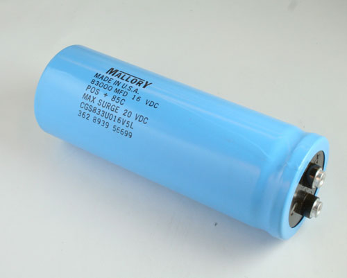 Picture of CGS833U016V5L MALLORY capacitor 83,000uF 16V Aluminum Electrolytic Large Can Computer Grade