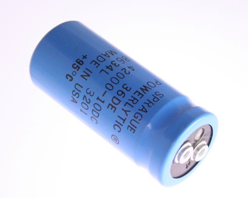 Picture of 36DE423G010AB2A SPRAGUE capacitor 42,000uF 10V Aluminum Electrolytic Large Can Computer Grade High Temp