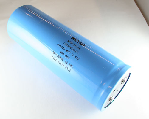 Picture of CGS494U010L MALLORY capacitor 490,000uF 10V Aluminum Electrolytic LARGE CAN COMPUTER GRADE