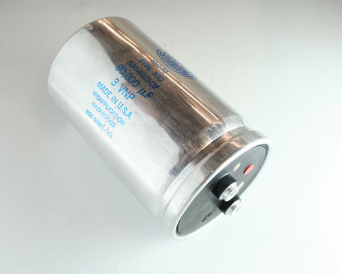 Picture of 500803U003CC2B SANGAMO capacitor 80,000uF 3V Aluminum Electrolytic Large Can Computer Grade
