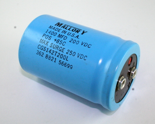 Picture of CGS142T200L MALLORY capacitor 1,400uF 200V Aluminum Electrolytic Large Can Computer Grade
