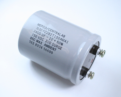 Picture of 3120FC282T150AMA1 MEPCO capacitor 2,800uF 150V Aluminum Electrolytic Large Can Computer Grade