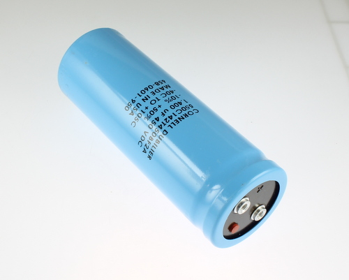Picture of 550C142T450BF2A Cornell Dubilier (CDE) capacitor 1,400uF 450V Aluminum Electrolytic Large Can Computer Grade High Temp