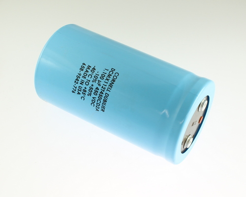 Picture of DCMX112T450CD2A CDE capacitor 1,100uF 450V Aluminum Electrolytic Large Can Computer Grade