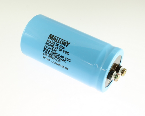 Picture of CGS303U030V4C MALLORY capacitor 30,000uF 30V Aluminum Electrolytic Large Can Computer Grade