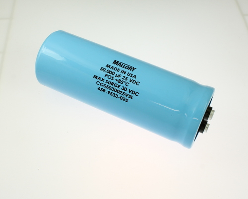 Picture of CGS503U025V5L MALLORY capacitor 50,000uF 25V Aluminum Electrolytic Large Can Computer Grade