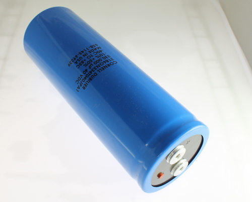 Picture of 3186GN334T040JPA1 Cornell Dubilier (CDE) capacitor 330,000uF 40V Aluminum Electrolytic Large Can Computer Grade