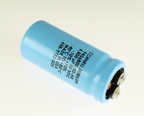 Picture of FAS6800-50-AB Cornell Dubilier (CDE) capacitor 6,800uF 50V Aluminum Electrolytic Large Can Computer Grade