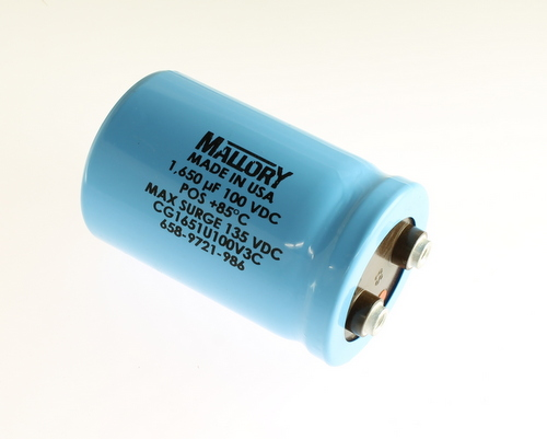 Picture of CG1651U100V3C Mallory capacitor 1,650uF 100V Aluminum Electrolytic Large Can Computer Grade