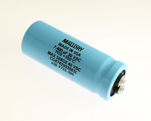 Picture of CGR742U030R3L MALLORY capacitor 7,400uF 30V Aluminum Electrolytic Large Can Computer Grade High Temp
