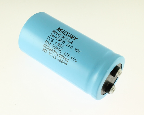 Picture of CGS242U150V4C MALLORY capacitor 2,400uF 150V Aluminum Electrolytic Large Can Computer Grade