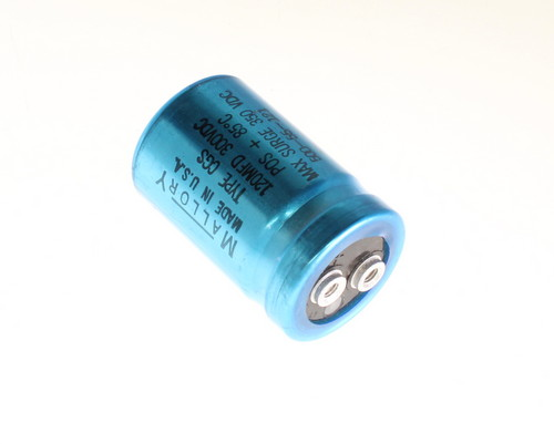 Picture of CGS121T300R2C3PL MALLORY capacitor 120uF 300V Aluminum Electrolytic Large Can Computer Grade