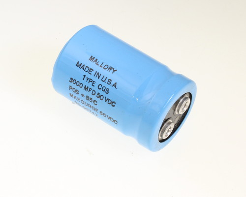 Picture of CGS302U050R2C MALLORY capacitor 3,000uF 50V Aluminum Electrolytic Large Can Computer Grade