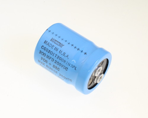 Picture of CGS201T200R1N3PL MALLORY capacitor 200uF 200V Aluminum Electrolytic Large Can Computer Grade
