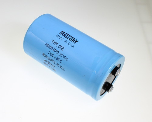 Picture of CGS453U035W4L MALLORY capacitor 45,000uF 35V Aluminum Electrolytic Large Can Computer Grade