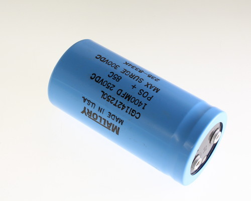 Picture of CGI142T250L MALLORY capacitor 1,400uF 250V Aluminum Electrolytic Large Can Computer Grade