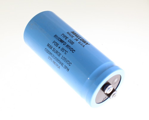 Picture of CGS852U085U4L3PH MALLORY capacitor 8,500uF 85V Aluminum Electrolytic Large Can Computer Grade