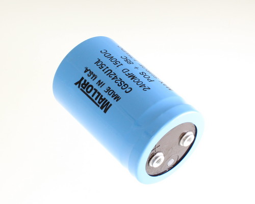 Picture of CGS242U150L Mallory capacitor 2,400uF 150V Aluminum Electrolytic Large Can Computer Grade