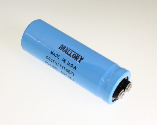 Picture of CGS551T250BF1 MALLORY capacitor 550uF 250V Aluminum Electrolytic Large Can Computer Grade