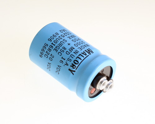 Picture of CG252U016R2C MALLORY capacitor 2,500uF 16V Aluminum Electrolytic Large Can Computer Grade