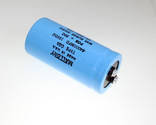 Picture of CGS643U015V4C MALLORY capacitor 64,000uF 15V Aluminum Electrolytic Large Can Computer Grade