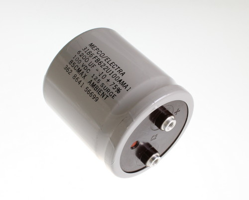 Picture of 3186FB622U100AMA1 MEPCO capacitor 6,200uF 100V Aluminum Electrolytic Large Can Computer Grade