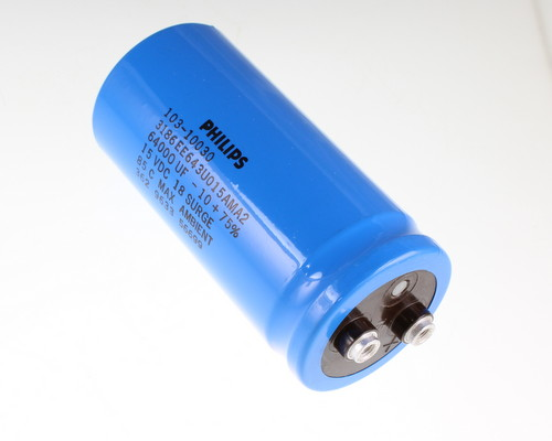 Picture of 3186EE643U015AMA2 PHILIPS capacitor 64,000uF 15V Aluminum Electrolytic Large Can Computer Grade