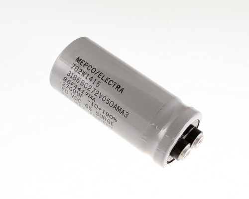 Picture of 3186BC272V050AMA3 MEPCO capacitor 2,700uF 50V Aluminum Electrolytic Large Can Computer Grade