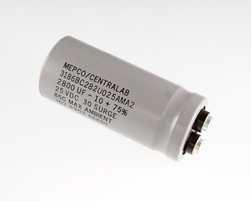 Picture of 3186BC282U025AMA2 MEPCO capacitor 2,800uF 25V Aluminum Electrolytic Large Can Computer Grade