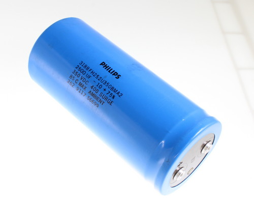 Picture of 3188FH252U350BMA2 Philips capacitor 2,500uF 350V Aluminum Electrolytic Large Can Computer Grade