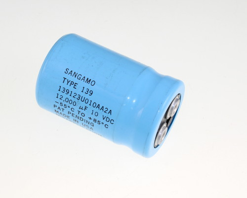 Picture of 139123U010AA2A Sangamo capacitor 12,000uF 10V Aluminum Electrolytic Large Can Computer Grade