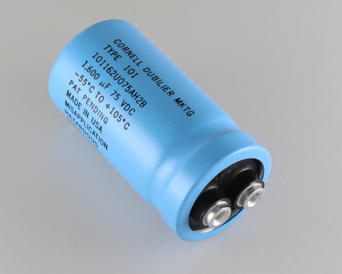 Picture of 101162U075AH2B Cornell Dubilier (CDE) capacitor 1,600uF 75V Aluminum Electrolytic Large Can Computer Grade