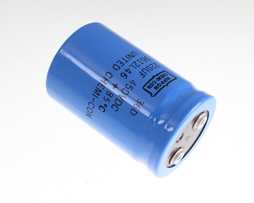 Picture of 36D450LG221M51X81 UNITED CHEMICON capacitor 220uF 450V Aluminum Electrolytic Large Can Computer Grade