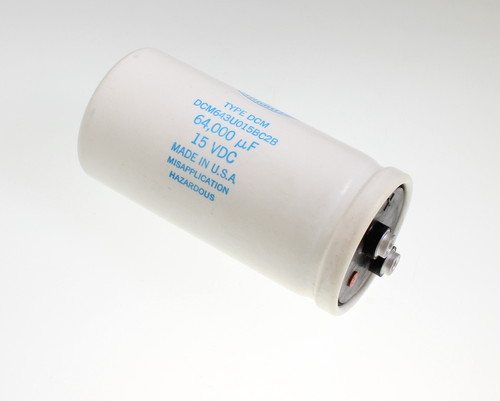 Picture of DCM643U015BC2B SANGAMO-CDE capacitor 64,000uF 15V Aluminum Electrolytic Large Can Computer Grade