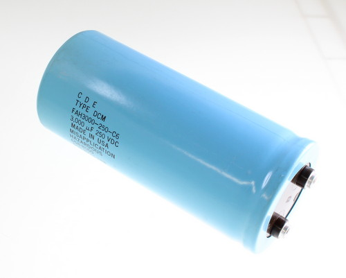 Picture of FAH3000-250-C6 Cornell Dubilier (CDE) capacitor 3,000uF 250V Aluminum Electrolytic Large Can Computer Grade
